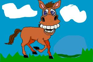 funny horse eating grass