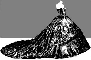 How to draw a black ballgown