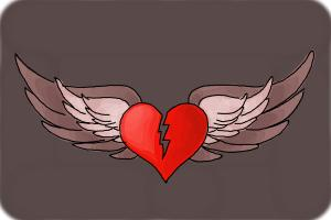How to Draw a Broken Heart With Wings