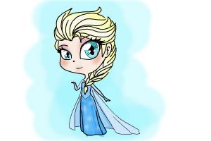 How to draw a Chibi Elsa from Frozen
