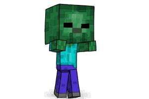 How to draw minecraft step by step easy drawings for kids drawingnow how to draw a chibi zombie from minecraft altavistaventures Image collections