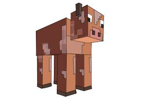 How to draw a Cow from Minecraft