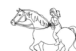 how to draw a girl riding a horse