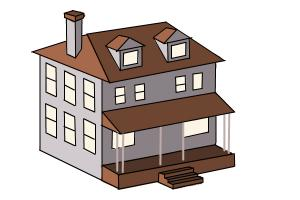 how to draw a house two story house - House Drawing Easy