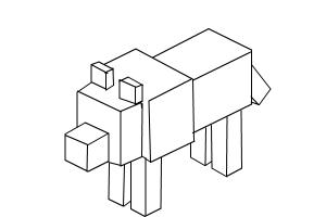 How to draw a minecraft dog body