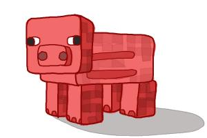 How to draw a Minecraft pig