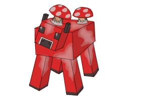 How to draw a Mooshroom from Minecraft