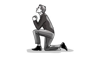 How to draw a person on their knees, kneeling
