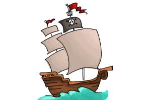 how to draw a pirate ship for kids
