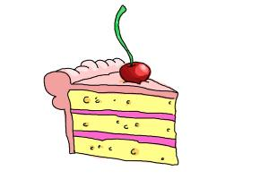 How to draw a slice of cake
