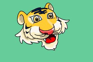 how to draw a tiger face cartoon