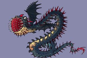 How to draw a Whispering Death dragon from How to Train your Dragon