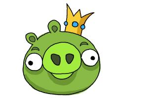 How to draw Angry Birds Pig, King Pig
