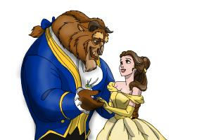 How to draw Belle and the Beast from Beauty and the Beast