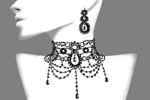 How to draw black earrings and necklace