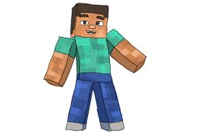 How to draw Diamond Steve from Minecraft