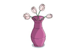 How To Draw Flowers In A Vase Drawingnow