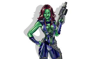 How to Draw Gamora from Guardians Of The Galaxy