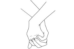 how to draw holding hands ;*