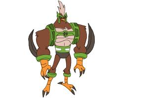 how to draw kickin hawk from ben 10 omniverse