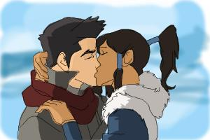 How to draw Mako and Korra kissing