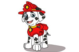 How to Draw Marshall from Paw Patrol