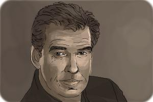 How to draw Pierce Brosnan