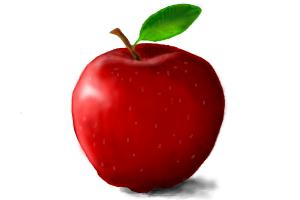 How to draw red apple
