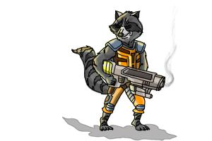 How To Draw Rocket Raccoon From Guardians Of The Galaxy Drawingnow