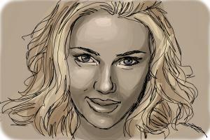 How to draw Scarlett Johansson