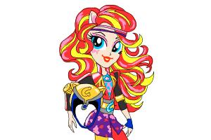 How to draw Sunset Shimmer from My Little Pony Equestria Girls Friendship Games