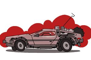 How to Draw The Delorean Time Machine from Back to The Future