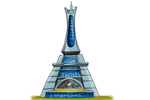 How to draw the Prism Tower from Pokemon