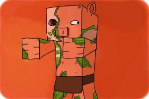 How to Draw Zombie Pigmen from Minecraft