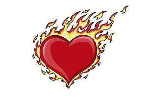 How to How to Draw a Flaming Heart - DrawingNow
