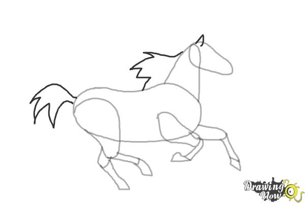 How to Draw a Horse Running - Step 6