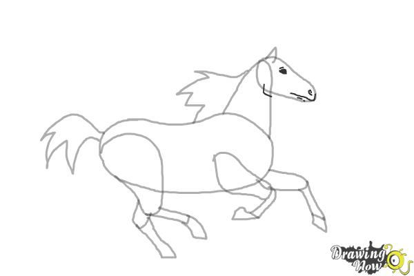 How to Draw a Horse Running - Step 7