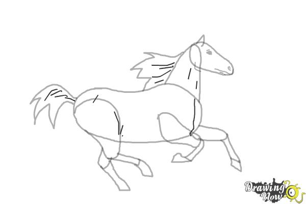 How to Draw a Horse Running - Step 8
