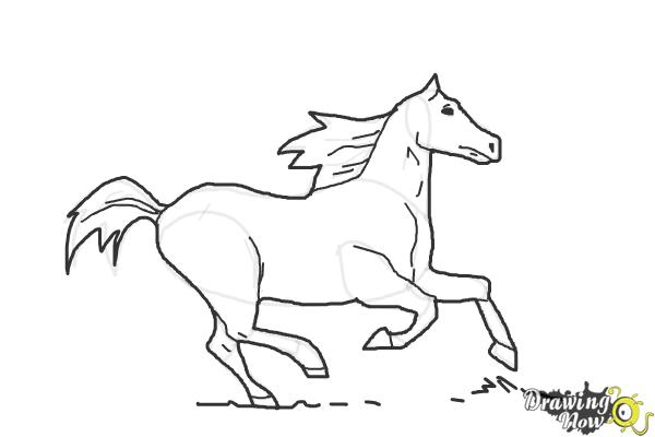 How to Draw a Horse Running - Step 9