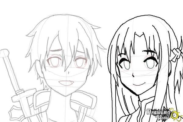 How to Draw Asuna And Kirito from Sword Art Online - Step 11