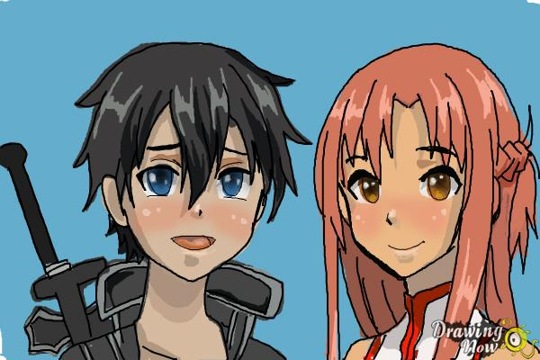 How to Draw Asuna And Kirito from Sword Art Online - Step 12