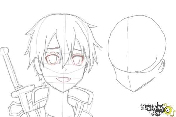 How to Draw Asuna And Kirito from Sword Art Online - Step 7