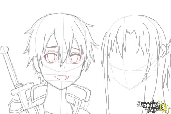 How to Draw Asuna And Kirito from Sword Art Online - Step 8