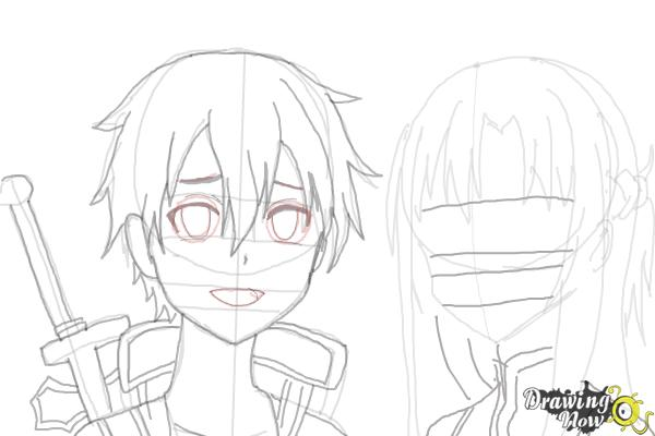 How to Draw Asuna And Kirito from Sword Art Online - Step 9