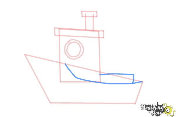 How to Draw a Fishing Boat - Step 7