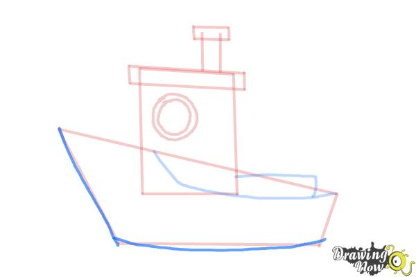 How to Draw a Fishing Boat - Step 8
