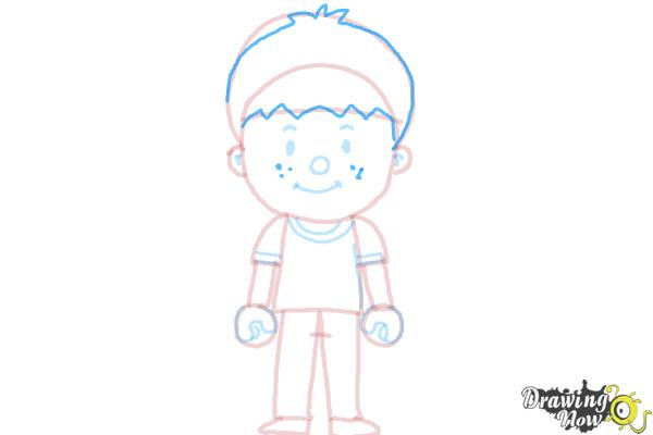 How to Draw a Little Boy - Step 11