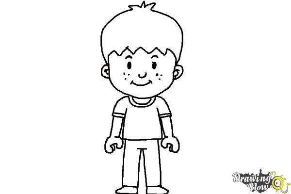 How to Draw a Little Boy - Step 12