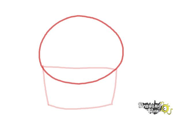 How to Draw a Cute Cupcake - Step 2