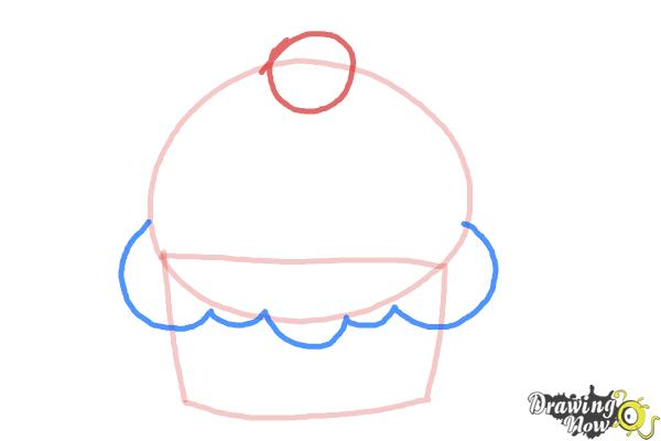 How to Draw a Cute Cupcake - Step 3